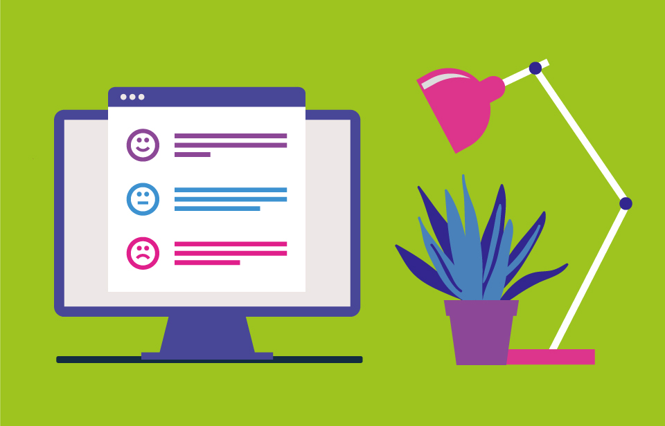 Illustration of a desk top, plant, computer and lamp, green background. Laptop showing employee engagement results